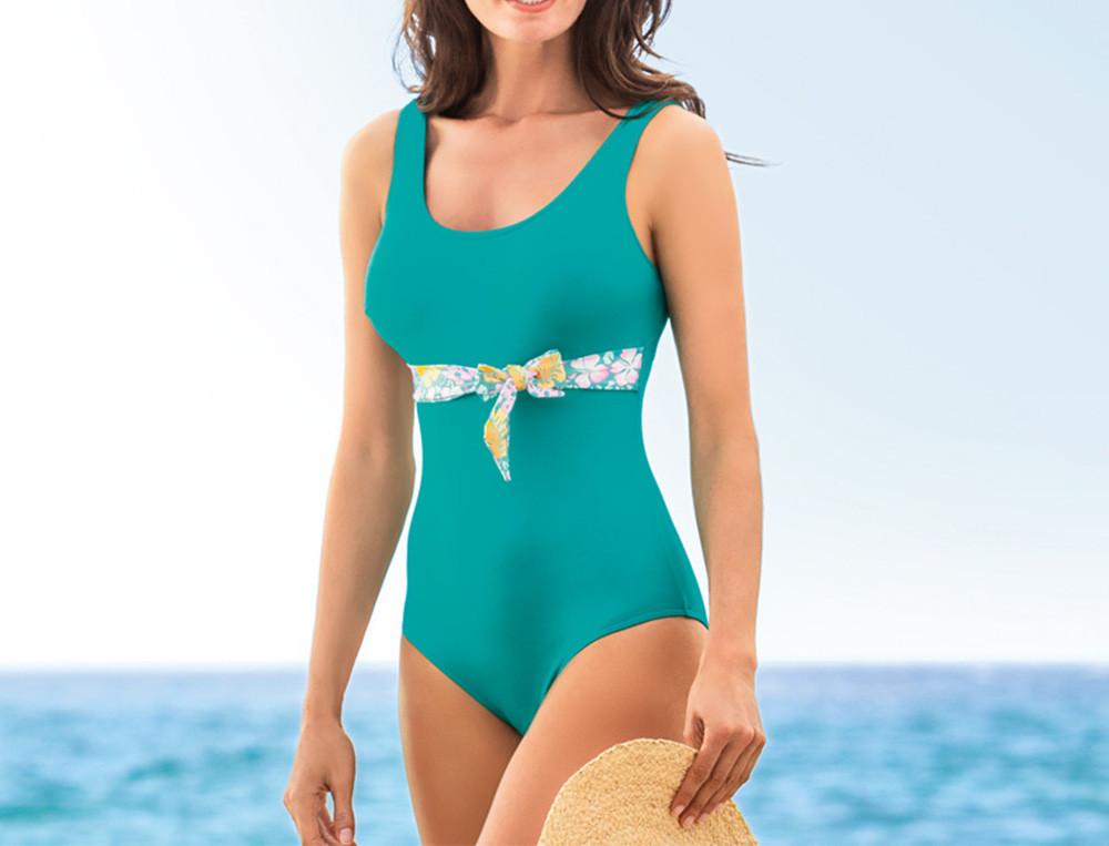 Maillot de bain 1pièce uni ceinture imprimée Cap Corse