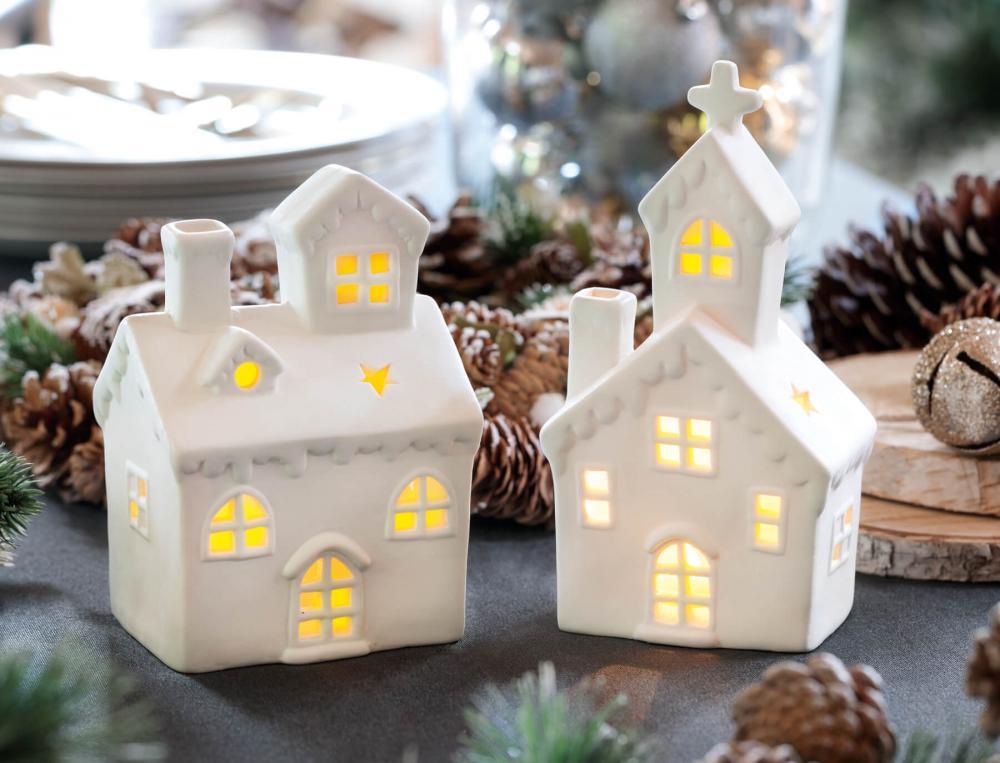 2 maisons lumineuses porcelaine Table de fête