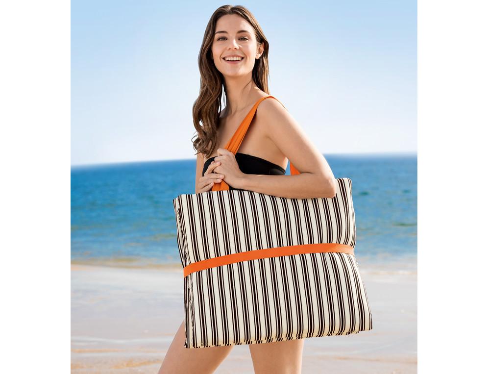 Matelas de plage pliable tissé-teint Grande anse