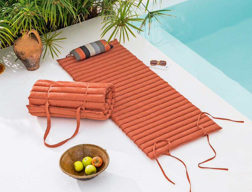 Matelas de sol orange enveloppe coton Roussillon