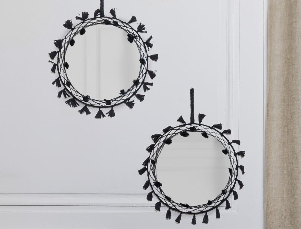 Miroir finitions pompons Caravansérail