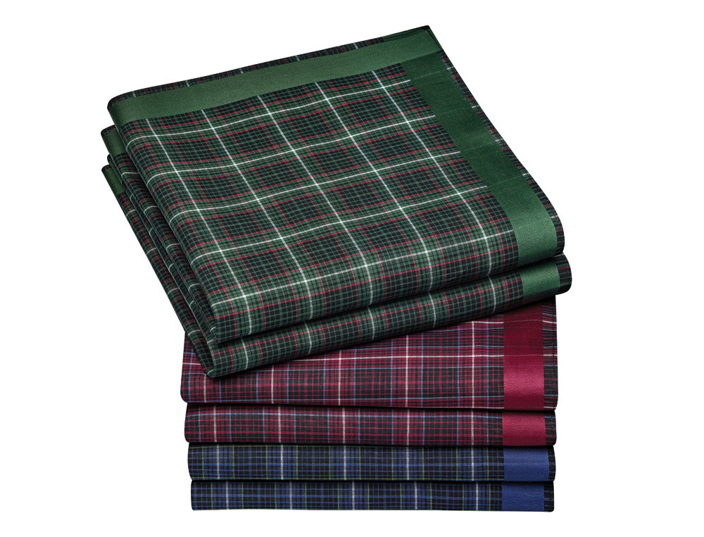 6 mouchoirs homme 100% coton peigné fond écossais Délice