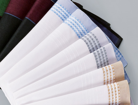 6 mouchoirs fond blanc avec motifs jacquard 100% coton Spleen