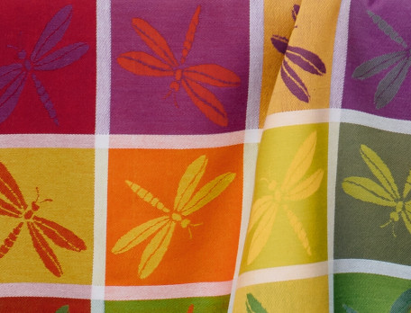 Nappe jacquard 100% coton motifs libellules Battements d'ailes