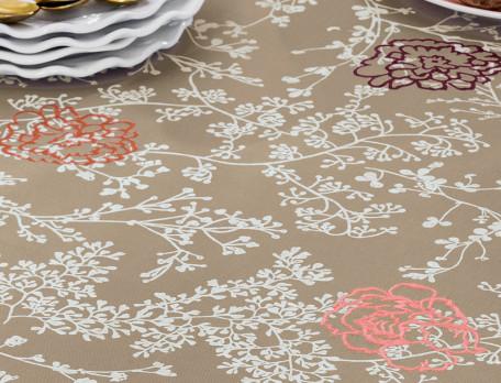 Nappe brodée 100% coton Chemin de fleurs