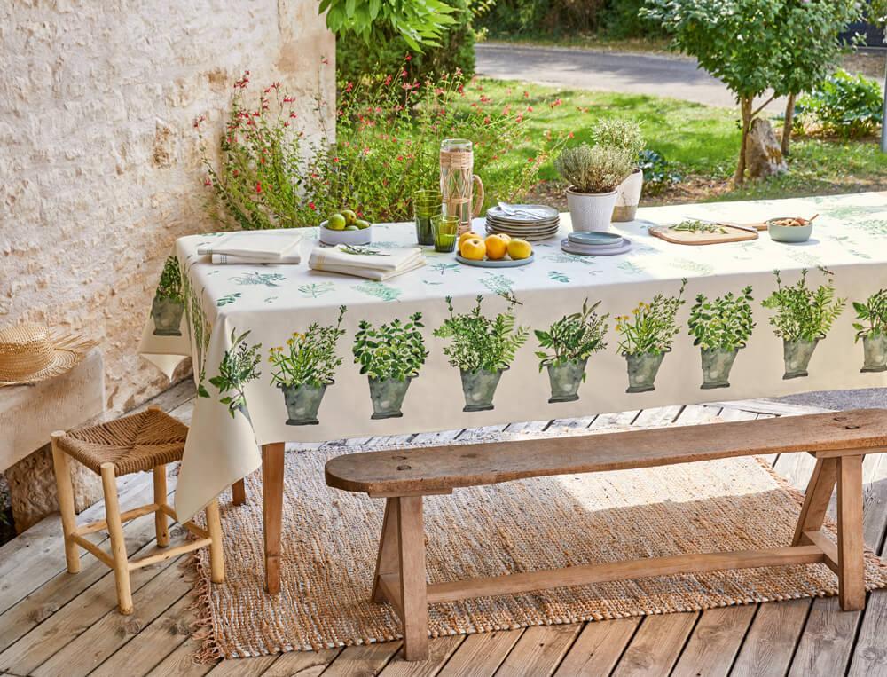 Nappe 100% coton enduit Bouquet d'arômes