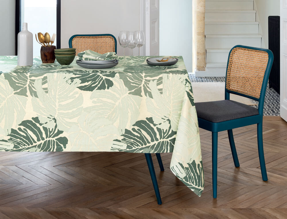 Nappe jacquard motif palme Jungle