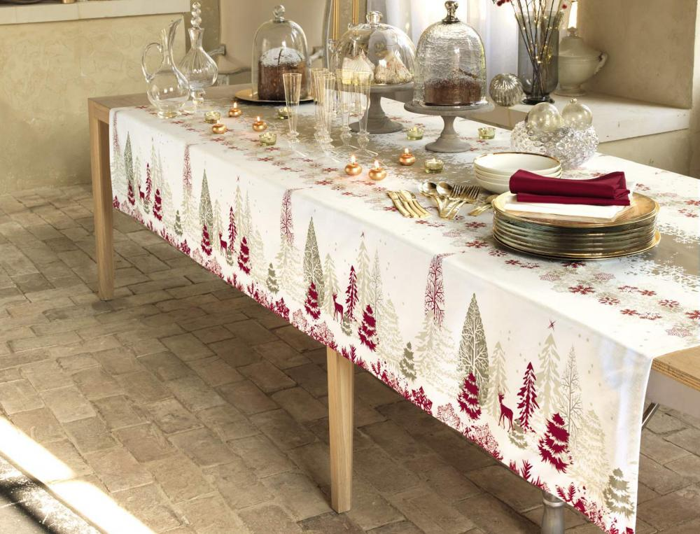 Nappe fantaisie neige de no l linvosges for Nappe et serviettes de table