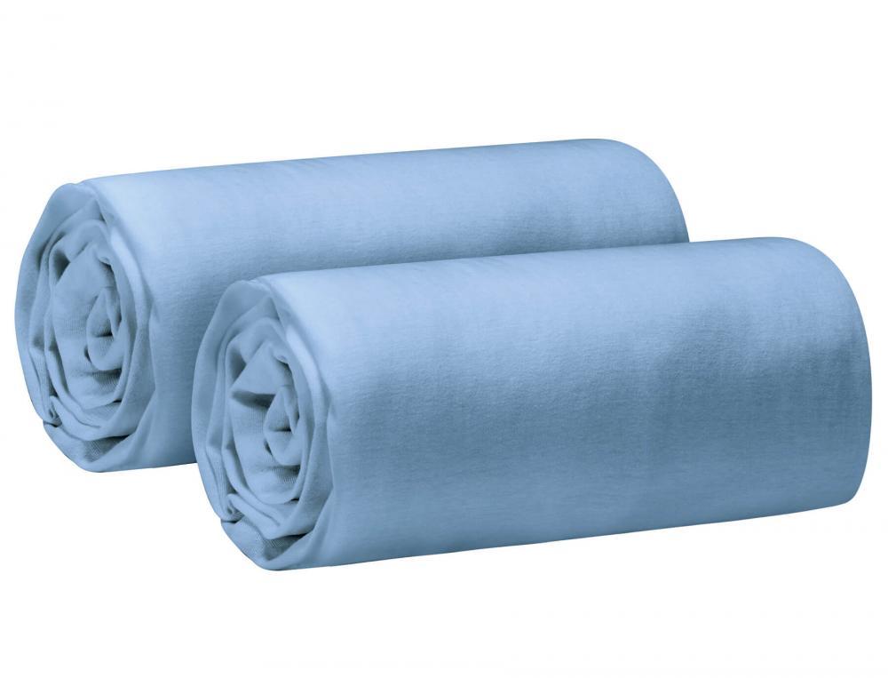 Pack 2 draps-housse extensibles Jersey bleu ancien