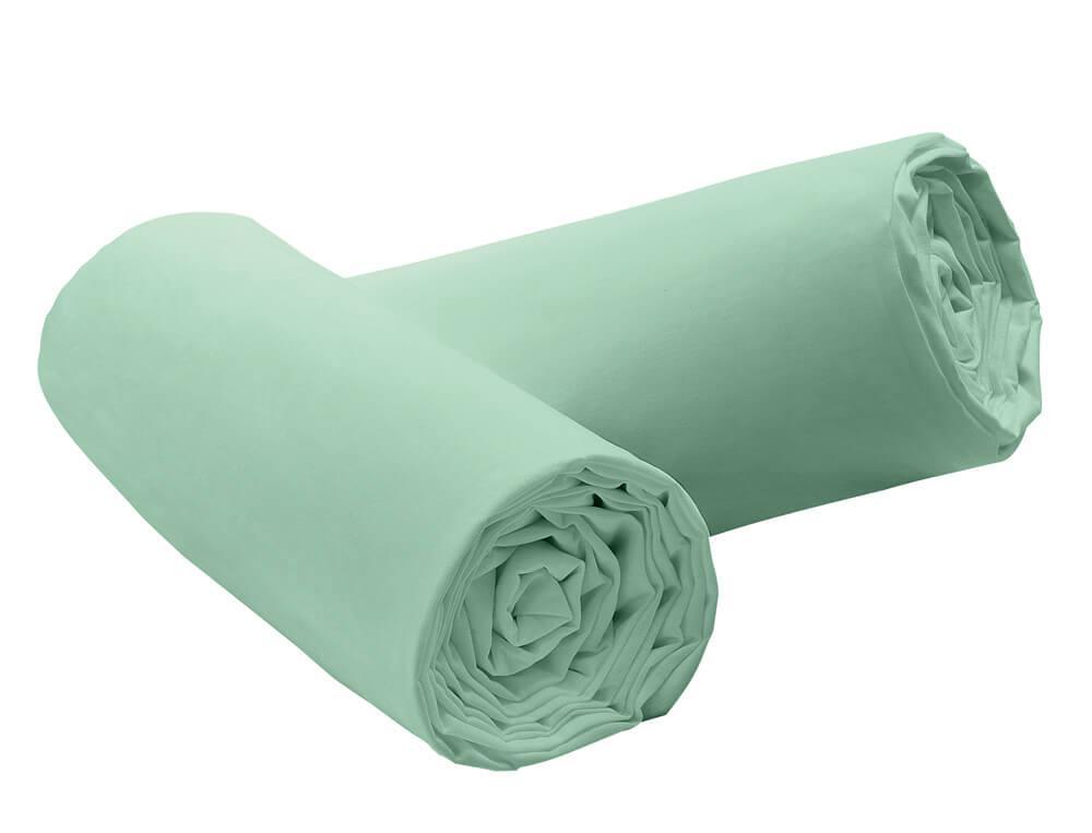 Pack 2 draps-housse vert d'eau extensibles Jersey