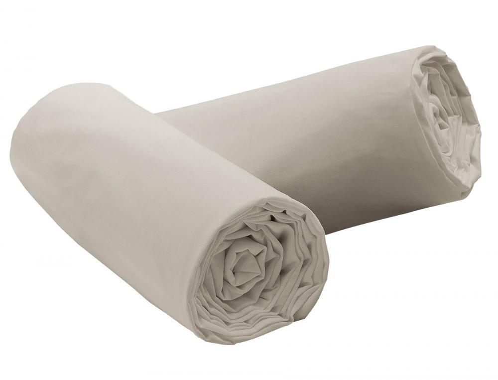 Pack 2 draps-housse Percale gris perle