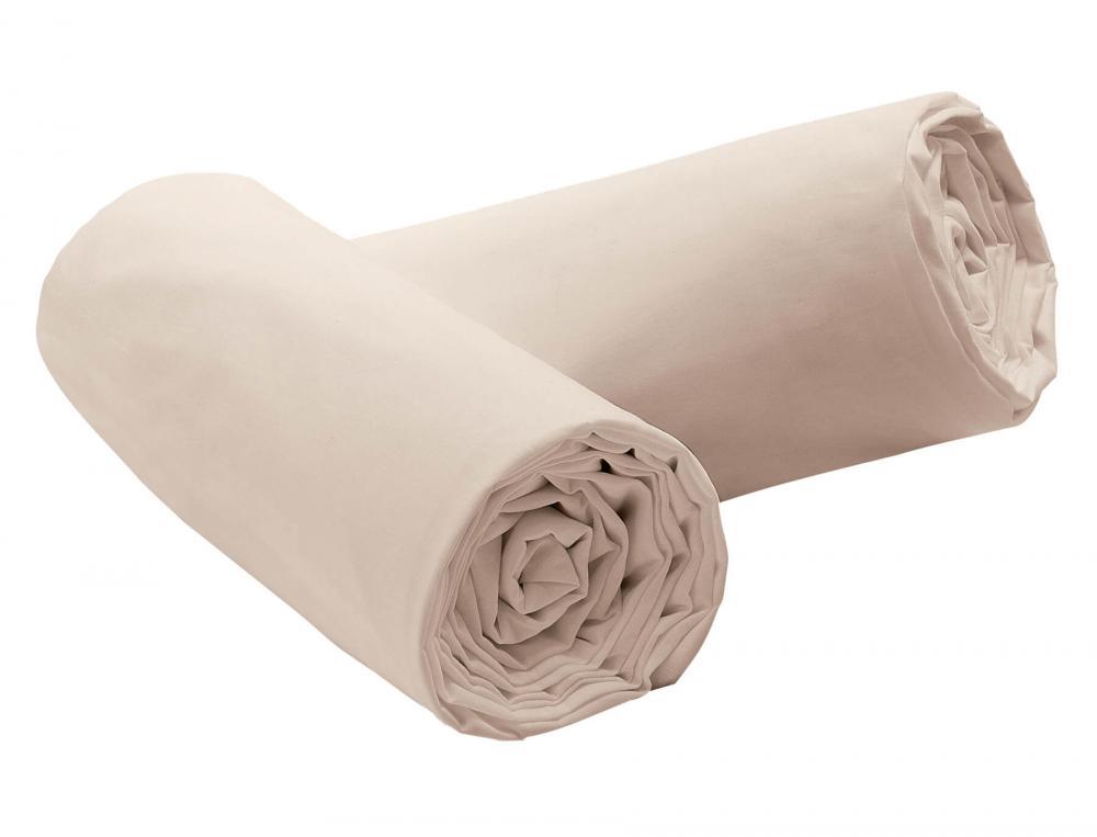 Pack 2 draps-housse Percale ivoire