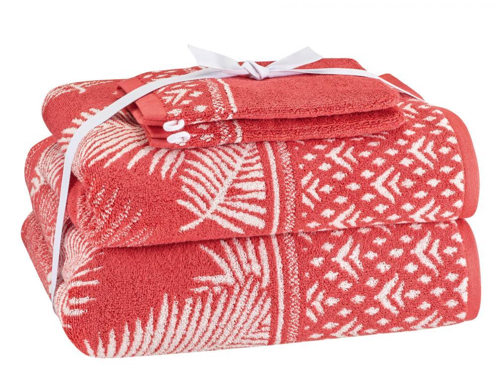 Pack linge de bain corail jacquard Esquisse du Bengale