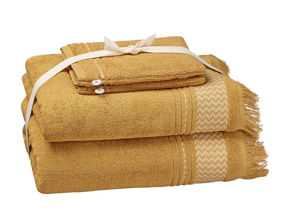 Pack linge de bain jaune serviette de bain, drap de bain et gants À l'horizon