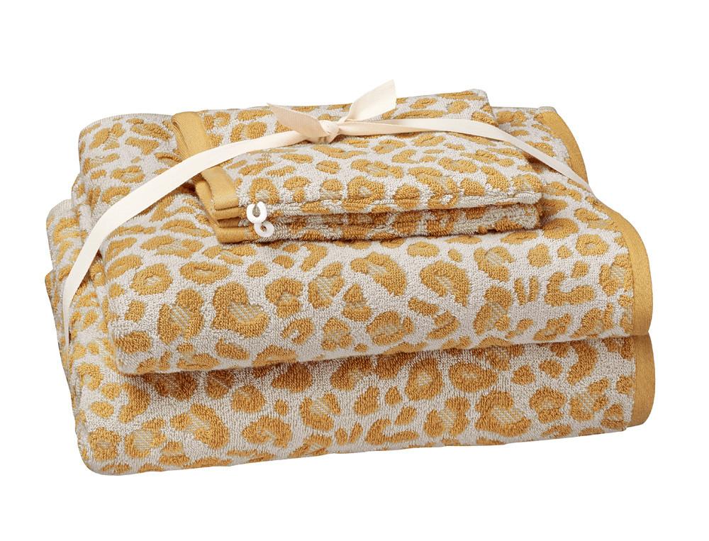 1 drap de bain 70x140 cm + 1 serviette 50x100 cm + 2 gants 16x21 cm jaune Douce évasion