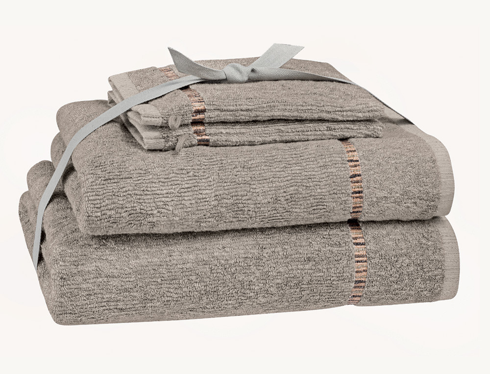 Pack linge de bain beige ciselé En week-end