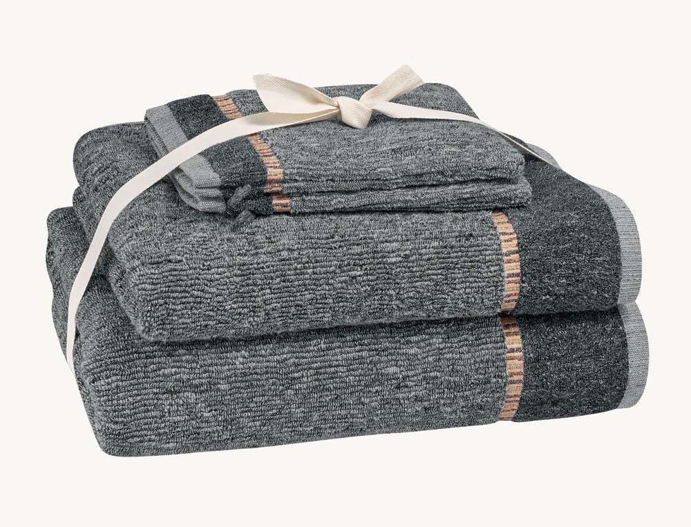 Pack linge de bain anthracite ciselé En week-end