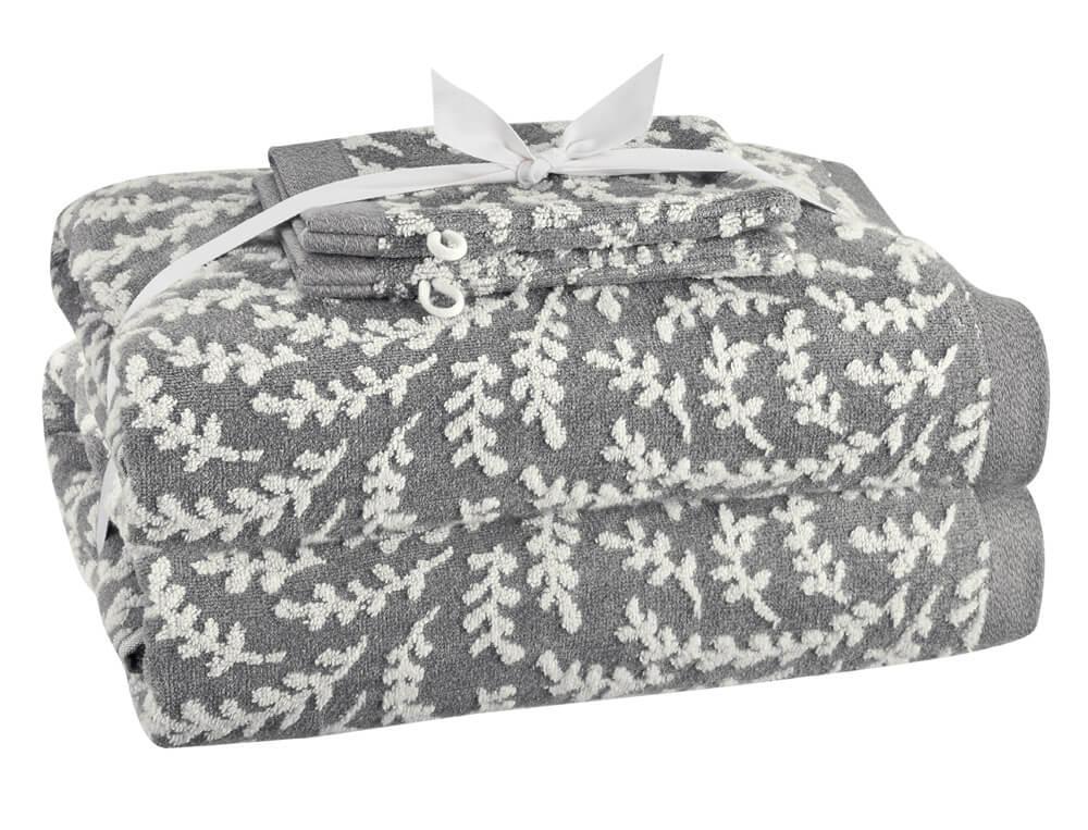 Pack linge de bain gris jacquard Gingko