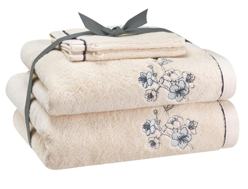 Pack linge de bain brodé ivoire Pommier du Japon