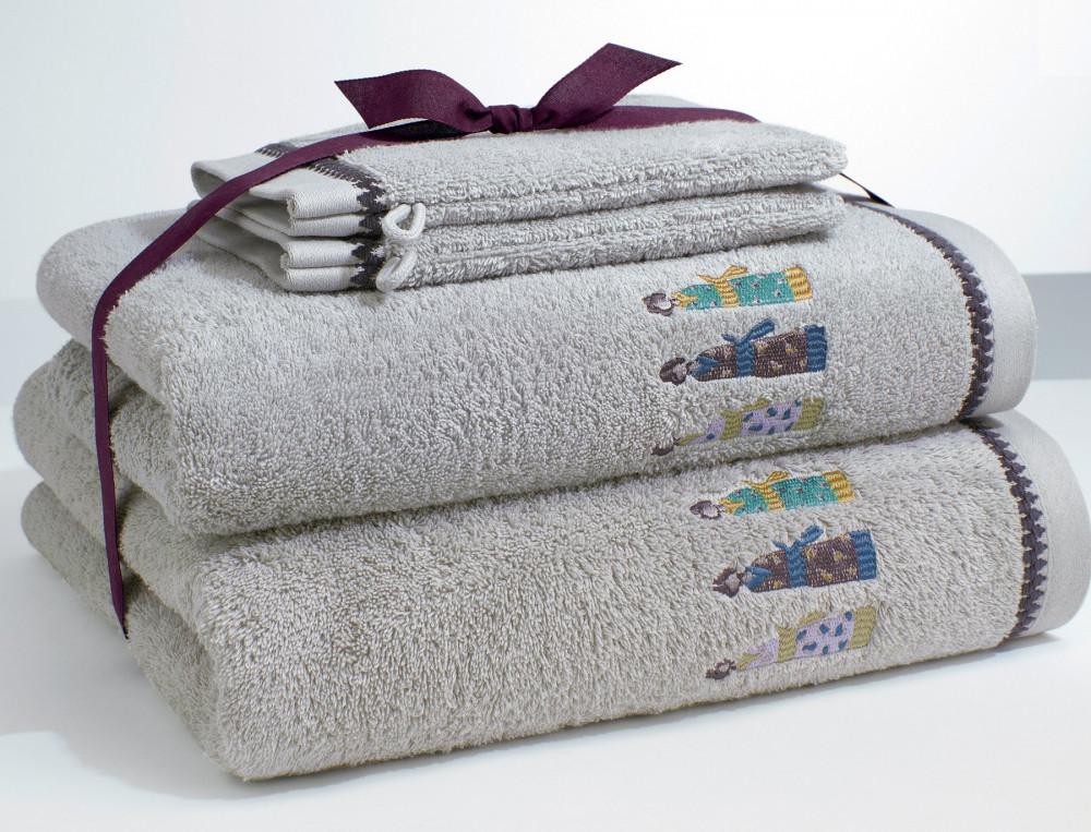 Pack drap de bain, serviette de bain et 2 gants kimonos brodé gris 2 gants
