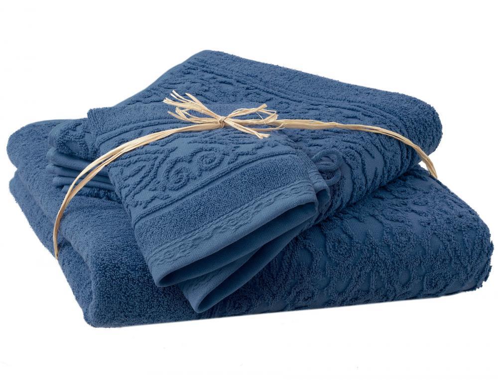 Pack linge de toilette ciselé bleu nattier Balade crétoise