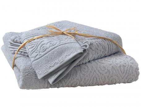 Pack linge de toilette ciselé bleu gris Balade crétoise