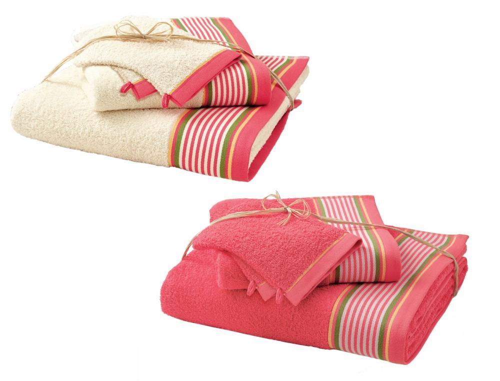 Pack linge de toilette avec 2 gants Maison basque