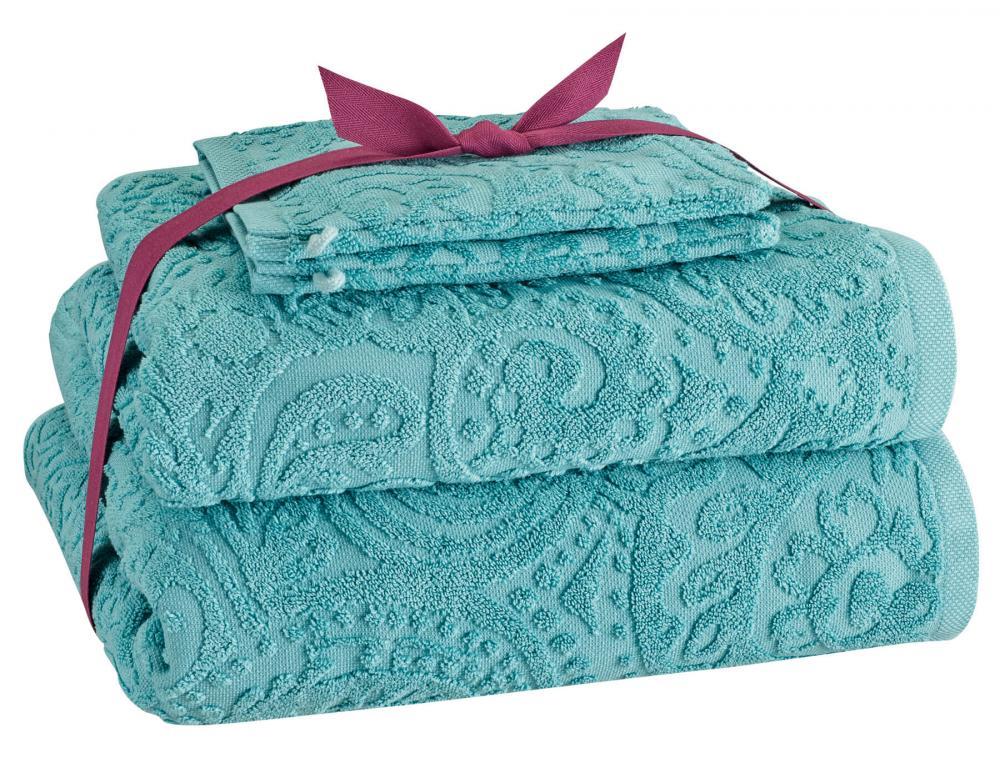 Pack linge de toilette ciselé coloris turquoise Secret d'orient