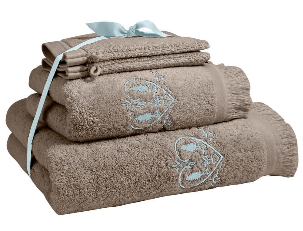 Pack linge de bain brodé taupe Coeurs de montagne
