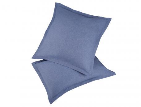 Pack 2 taies d'oreiller bleu Flanelle