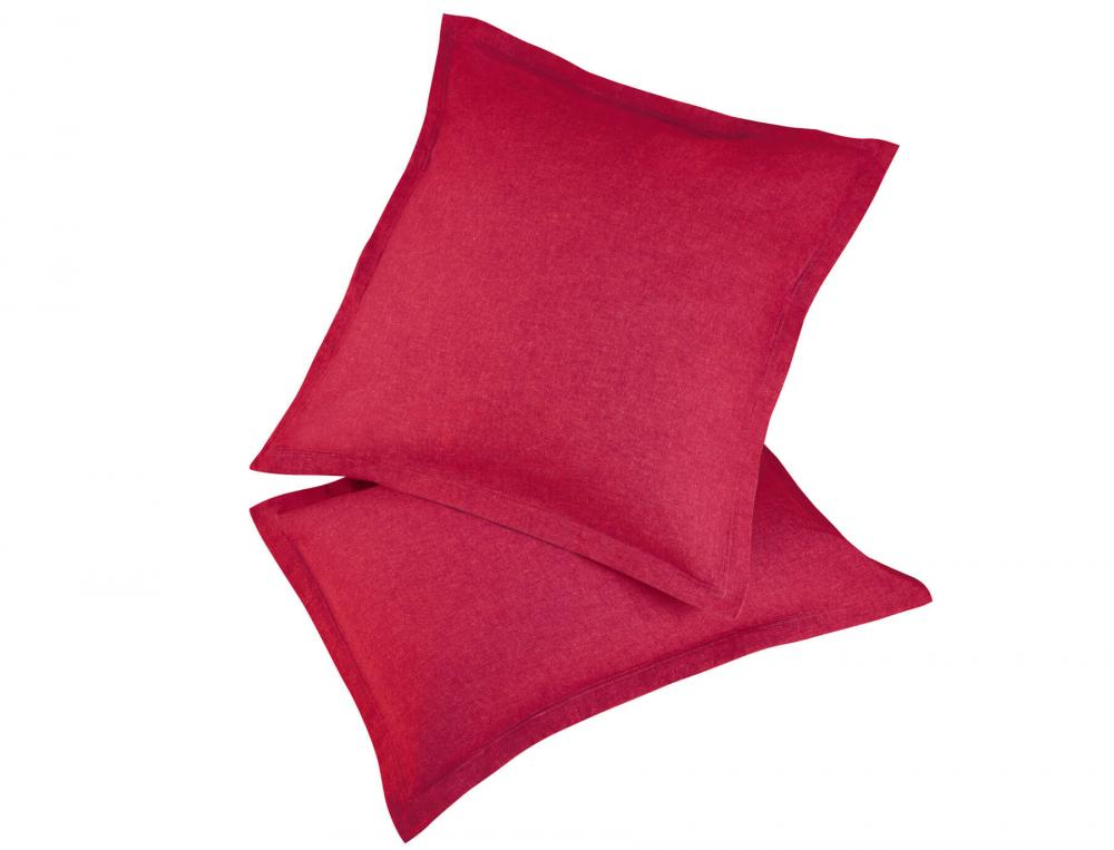 Pack 2 taies d'oreiller rouge Flanelle