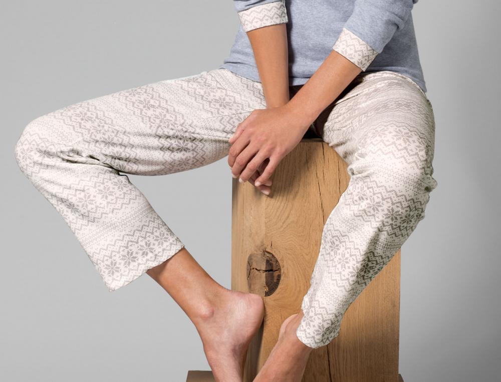 Pantalon imprimé gris Jour de neige