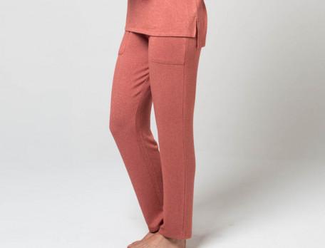 Pantalon en maille unie brique Sous le vent