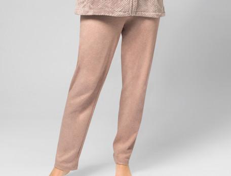 Pantalon uni chiné beige rosé Islande
