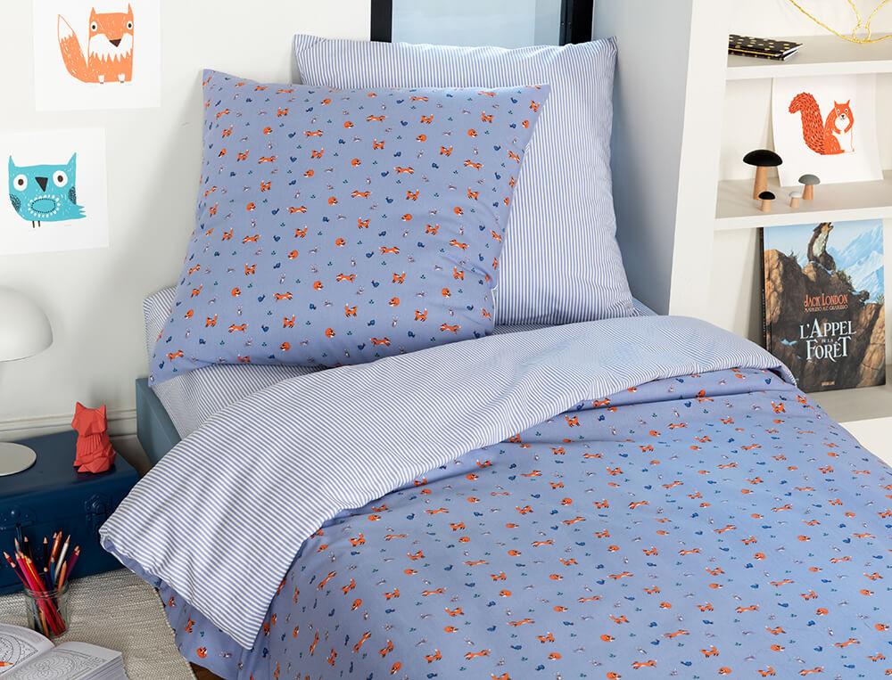 Parure de lit enfant imprimé 100% coton Fox