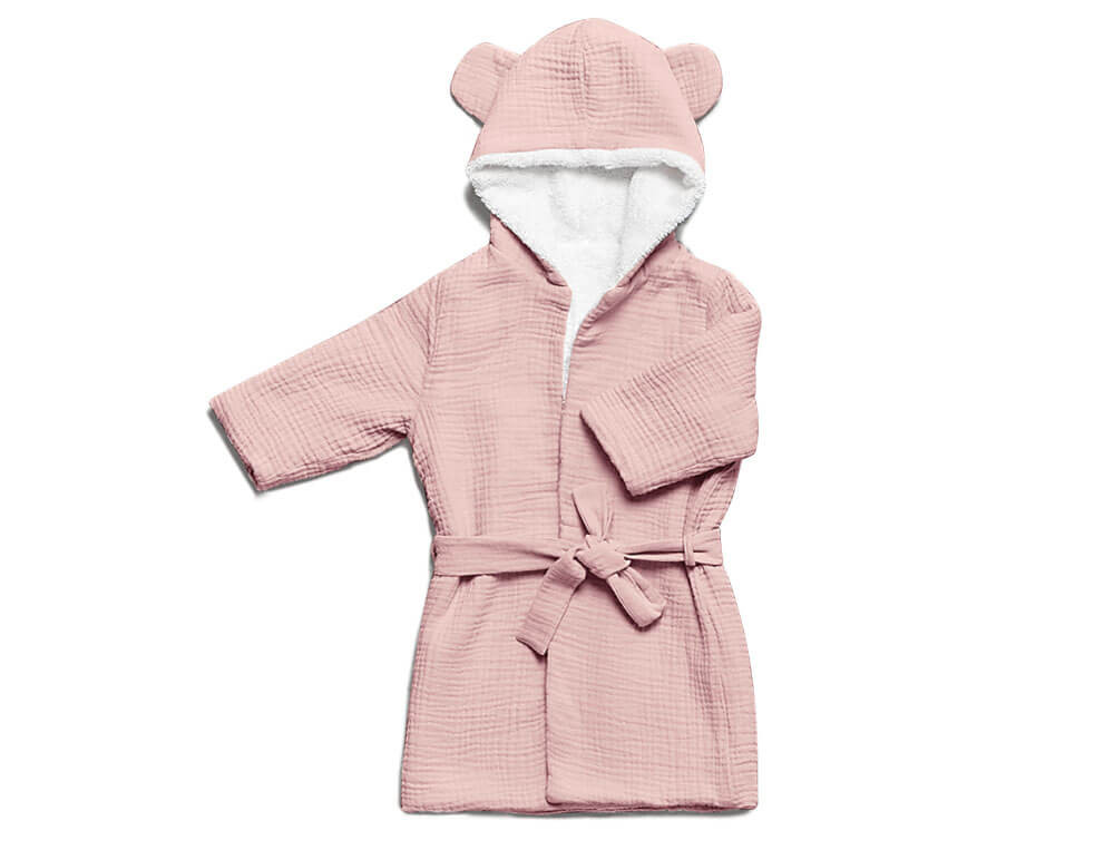 Peignoir bébé 12 -24 mois gaze de coton rose Duo câlins