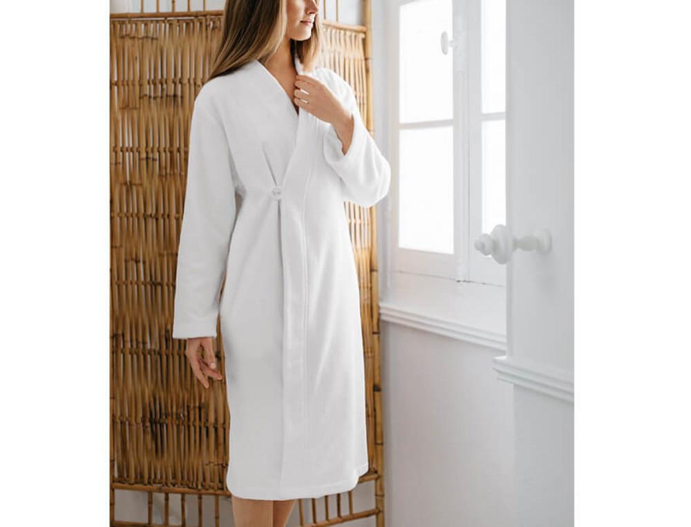 Peignoir blanc forme kimono croisé 100% coton Esprit zen