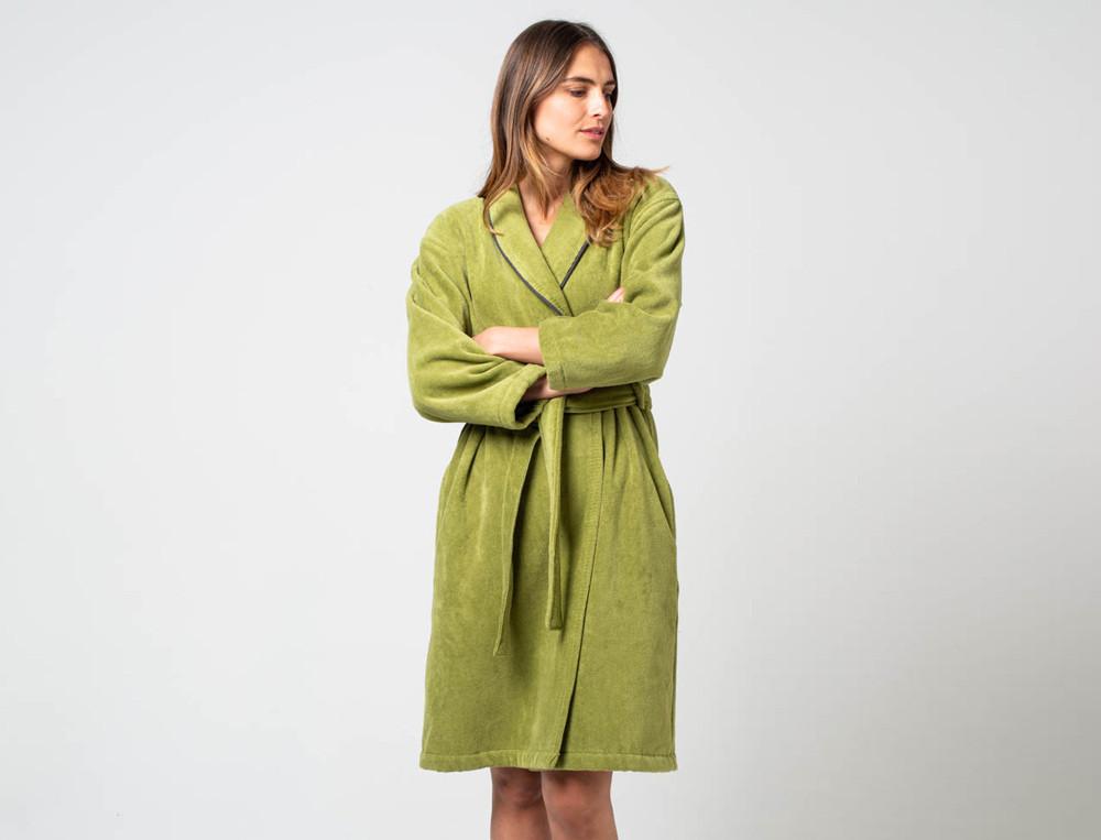Peignoir femme vert 100% coton 420g/m2 Forêt de Marly