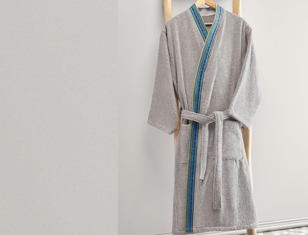 Peignoir homme jacquard forme kimono Bleu de paon