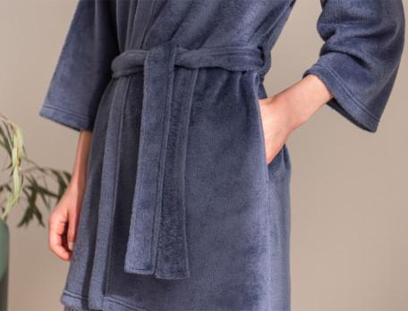 Peignoir forme kimono en polaire Reflets bleus