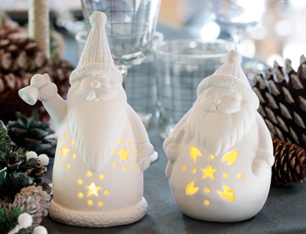 2 Pères Noël lumineux porcelaine Table de fête