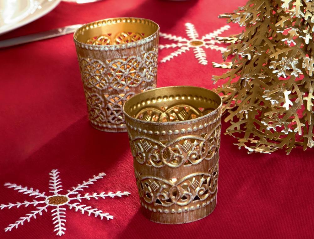 2 photophores en métal doré Étoiles de neige