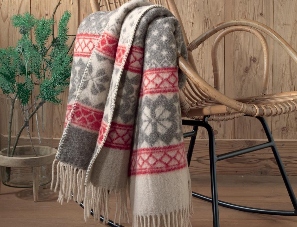 Plaid 100% laine Descente aux flambeaux