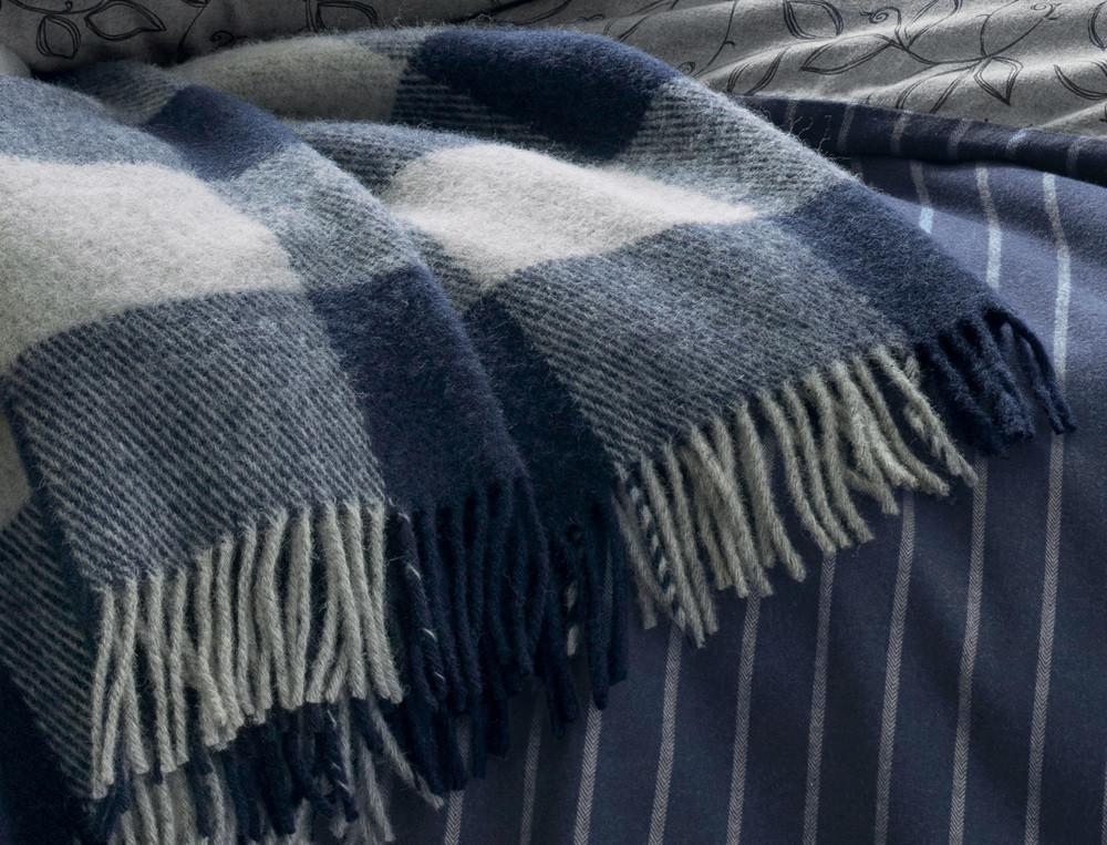 Plaid en laine tissé-teint En duo