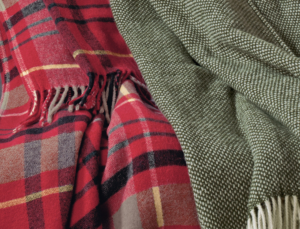Plaid tissé vert et beige en laine et plaid écossais rouge Esprit de Noël