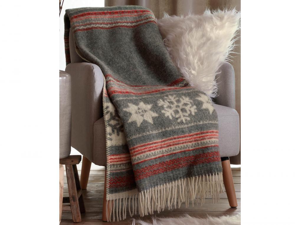Plaid jacquard en laine Hiver à la Clusaz