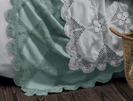 Plaid crochet 100% coton Nuage blanc