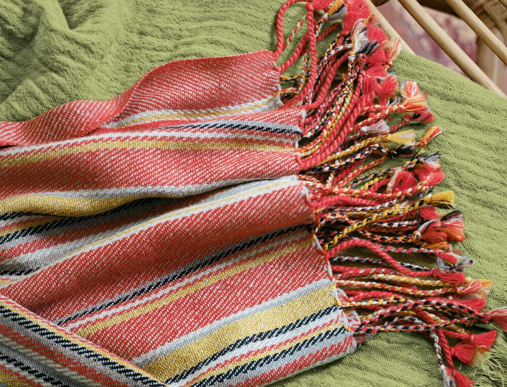 Plaid tissé-teint rayé laine et soie Destination tropicale
