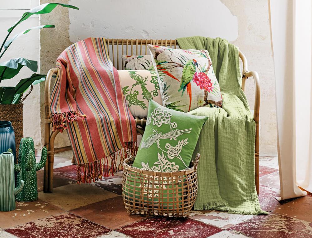Plaid ou jeté de canapé uni 100% coton effet gaufré Destination tropicale