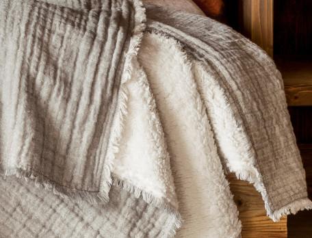 Plaid et jeté de lit gris 2 faces Piste noire